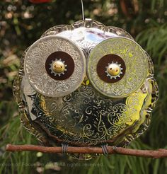 """Chased"" Owl by Focus On Art...  created almost completely from recycled materials."