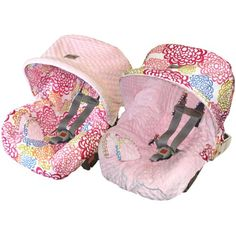 #ItzyRitzy Baby Ritzy Rider - #Infant Car Seat Cover - ICS8067 - Fresh Bloom | 100% #cotton - 2 #pacifier pockets & neck straps | Universal, reversible cover that fits over existing manufacturers' covers | Reversible cover and hood create 4 distinct looks | Machine wash in cold water - no bleach - line dry recommended | Pinned by ItzyRitzy | #baby #mom #mommy #travel #accessories #carseat #floral #pink