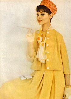 Yellow with orange hat From Mademoiselle, February 1961