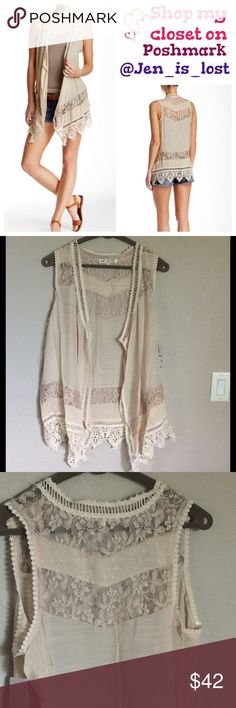 "⚡️30% OFF BUNDLES⚡️Boho Lace and Crochet Vest  L Boho Lace and Crochet Vest  - Drape collar - Open front - Sleeveless - Crochet knit trim - Lace panel inset - Scalloped hem - Approx. 34"" length Fiber Content: 60% polyester, 40%. Tops"