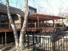 Large redwood deck and pergola. #outdoorprojects