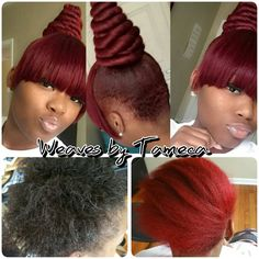 Red hair, Chinese bang, twisted bun, top bun, quick styles