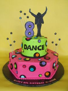 Neon Michael Jackson Dance Themed Birthday Cake by CakesUniqueByAmy.com, via Flickr