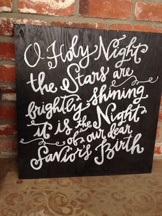 Oh Holy Night Hand Painted Sign  on Etsy, $40.00