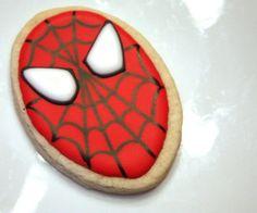 Super hero Spiderman cookie favors - one dozen Yummy Delicious Cookies. $36.00, via Etsy.