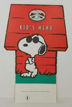 Snoopy Joe Cool Knotts Berry Farm Mrs Knotts Chicken Dinner Restaurant Kid Menu
