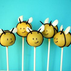 12 Busy Bee or Baby Bee Cake Pops - for baby shower, mom-to-bee, party favor, birthday, gender reveal, new mom gift, winnie the pooh via Etsy