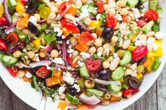 Mediterranean Bean Salad is the perfect picnic and barbecue side ~ make up a big batch to keep in the fridge for quick and healthy lunches, too!