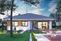 Kwadra - murowana – ceramika - zdjęcie 5 Three Bedroom House Plan, Modern Bungalow House, House Design Pictures, Porch Decorating, My House, Gazebo, 1, Cottage, Exterior