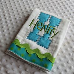 Baby Gift Set of Appliqued BuRP CLoTHs with by mylittlehedgehog