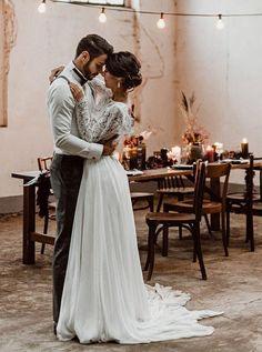 Two Piece Bateau Long Sleeves Chiffon Wedding Dress with Lace – Maxi Bridal