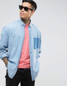 ASOS Oversized Denim Shirt With Shadow Pocket - Blue