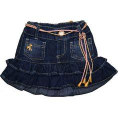 Saia Jeans Infantil Feminina com Cinto - Mimozinha :: 764 Kids | Roupa bebê e infantil