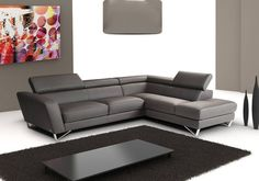 Find J&M Furniture Sparta Full Grey Italian Leather Sectional Sofa With Adjustable Headrests online. Shop the latest collection of J&M Furniture Sparta Full Grey Italian Leather Sectional Sofa With Adjustable Headrests from the popular stores - all in one Living Room White, Living Room Colors, New Living Room, Living Room Modern, Living Room Designs, Living Room Decor, Small Living, Modern Bedroom, Living Room Sectional