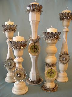 Old boring wooden candle sticks... add paint, a tart tin, some bling & a tag, I hope I still have one in the attic!  I am so going to do this.