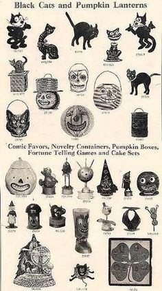 Antique Halloween Decorations ....  Vintage Catalogue Page with black cats and pumpkin lanterns, party favors,novelty containers,cake sets,pumpkin boxes. (Wish we could order these now! )