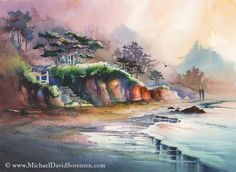 """Hug Point in the Mist"" - Watercolor art by Michael David Sorensen. Hug Point is nice beach just South of Cannon Beach, Oregon.    http://www.facebook.com/michaeldavidsorensen"