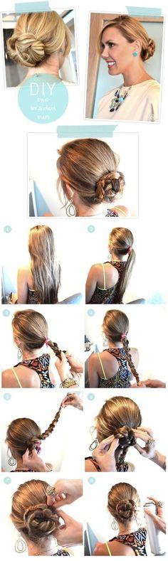 Via pophaircuts      1:Diy Chic Braided Bun Hair Tutorial: Easy Updos for Long Hair   This is a sweet and romantic braided bun. Comb a...