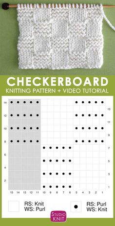 Knitting Chart of the Garter Checkerboard Stitch with Free Written Pattern and Video Tutorial by Studio Knit. #StudioKnit #knittingpattern #knittingchart #knitstitchpattern #knitting #freepattern