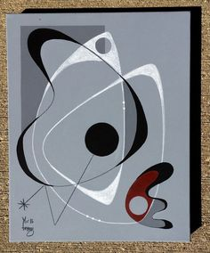 El Gato Gomez Painting Retro 1950's Atomic Era Mid Century Modern Abstract Eames | eBay