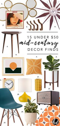 15 UNDER 50 Mid-Century Modern Home Decor Finds - - Affordable midcentury mod. Mid Century Modern Living Room, Mid Century Modern Decor, Mid Century House, Mid Century Modern Bathroom, Mid Century Wall Art, Mid Century Modern Lamps, Mid Century Bar, Mid Century Lighting, Mid Century Style