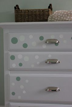Baby Changing Table Dots.. Wall Cling On Dresser