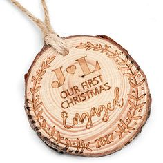 So Cute!  Our brand-new engraved wood ornaments are the perfect gift for the happily engaged couple!