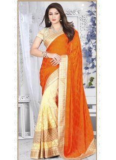 Orange Jacquard Half N Half Saree With Resham Work