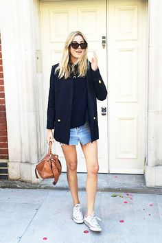 A Polished-Meets-Casual Way To Wear A Distressed Denim Skirt