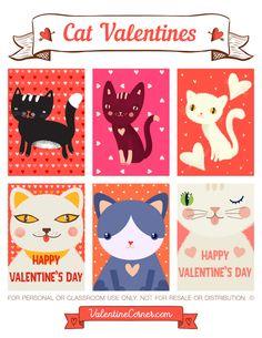 Free printable cat Valentine cards. Download the Valentines in PDF format at http://valentinecorner.com/download/valentines/cat/