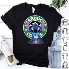 Stitch and Starbucks Coffee Logo shirt, hoodie, sweater, longsleeve t-shirt - NEA - Disney Lelo And Stitch, Lilo E Stitch, Cute Stitch, Stitch Shirt, Teen Fashion Outfits, Trendy Outfits, Cool Outfits, Addidas Shirts, Emo Outfits
