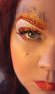 Eye makeup inspired by Katnnis's fire dress. - wonder if I can pull this off for Meloria....would be perfect for her volcano concept