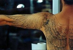 Mens anatomically correct angel wing tattoo back and arm