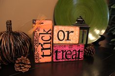 Trick or Treat Halloween Home Decor Wooden Block Sign.