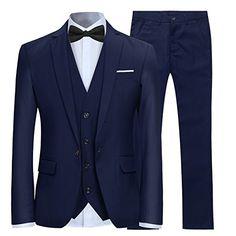 Homme Tweed Carreaux 3 Piece Costume Marron Vintage Bleu Herringbone Smart Coupe Ajustée