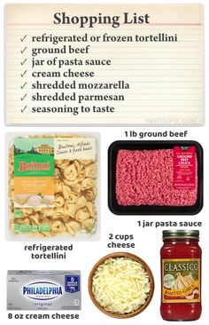 Easy Cheesy Baked Tortellini (With Meat Sauce) - Instrupix Tortellini Bake, Cheese Tortellini, Pasta Bake, Easy Casserole Recipes, Easy Dinner Recipes, Easy Meals, Beef Recipes, Cooking Recipes, Pasta Recipes