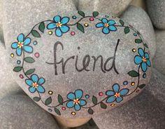 Happy Rock Friend Hand-Painted Beach River Rock Stone