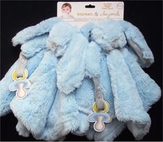 New 2 Blankets & Beyond Nunu Blue Bunny Rabbit Baby Boy Blanket Pacifier Holder #BlanketsBeyond