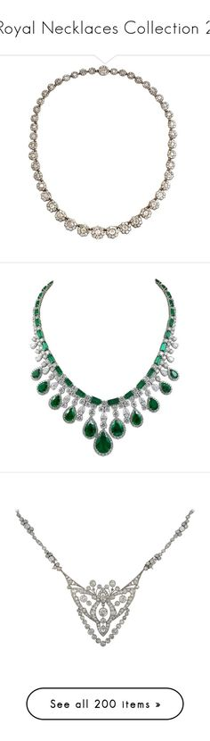 """Royal Necklaces Collection 2"" by nmccullough ❤ liked on Polyvore featuring jewelry, necklaces, snap necklace, snap button jewelry, snap jewelry, cluster necklace, gold and silver necklace, diamond jewelry, green diamond jewelry and fringe necklaces"
