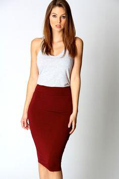 Maddy Jersey Midi Length Tube Skirt