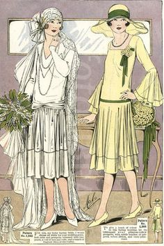 Catalogue showing 1926 wedding fashions. You can see the influence in … – Wedding dress fashion Art Deco Fashion, Boho Fashion, Vintage Fashion, Fashion Black, French Fashion, European Fashion, Gothic Fashion, Victorian Fashion, Fashion Trends