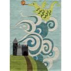 Lil Mo Whimsy Dragon Sky Blue 8 ft. x 10 ft. Indoor Kids Area Rug