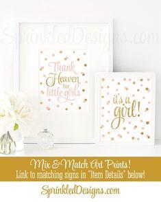 Thank Heaven for Little Girls, Baby Shower Decor, Baby Girl Nursery Wall Art, Religious Nursery, Baptism Decorations Blush Pink Gold Glitter - SprinkledDesigns.com