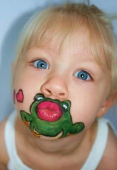 Face painting kikker grappig