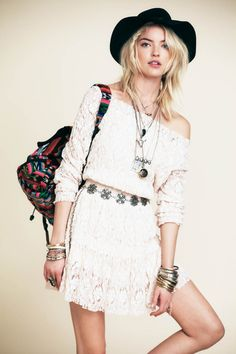 Festival Girl – In time for Coachella, Free People releases a new lookbook inspired by music festival style. Martha Hunt models key looks ranging from bohemian chic to rebellious casual. The blonde beauty poses for Anthony Nocella in a mix of flared denim, feminine ruffles, sequins and eclectic prints that can take any wardrobe from day to night.