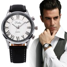 1Pair Lovers Couple Business Watches Mens Luxury Steel Dial Analog Quartz Watch Men's PU Leather Roman Numerals Wrist Watches #Z #Affiliate