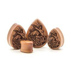 Mermaid Saba Teardrop Wood Plug | UK Custom Plugs - Ear Gauges, Flesh Tunnels for Stretched Ears