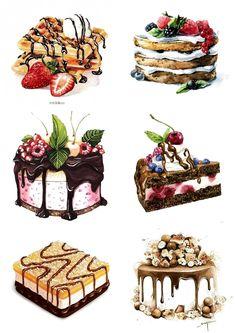 Food Illustration & dessert Illustrations Food Illustration & dessert Illustrations The post Food Illustration Illustration Dessert, Watercolor Illustration, Cute Food Art, Cute Art, Desserts Drawing, Food Sketch, Doodles, Watercolor Food, Food Painting