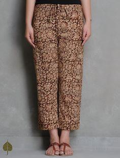 Buy Maroon Beige Olive Kalamkari Printed Tie Up Waist Cotton Pants by Jaypore Apparel & Skirts Qalamkari Block Jackets Kurtas More in Online at Jaypore.com