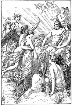 Roman Gods and Goddesses - Psyche and Cupid on Mount Olympus